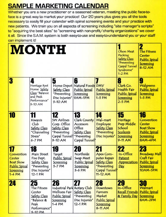 EXAMPLE MARKETING CALENDAR - Sample marketing calendar